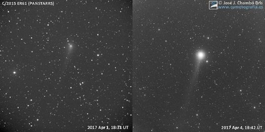 April 2017: The month of 4 visible comets - Comet PanSTARRS (C/2015 ER61) brightens overnight