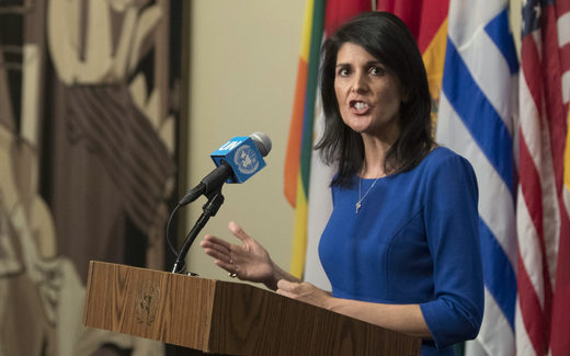 Nikki Haley Trump Syria airstrikes attack Idlib chemical attack