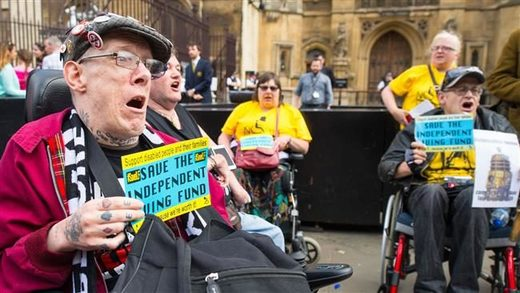 Disabled protesters in the UK