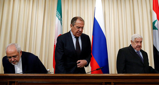 Russian Foreign Minister Sergei Lavrov (C), Syrian Foreign Minister Walid al-Muallem (R) and Iranian Foreign Minister Javad Zarif