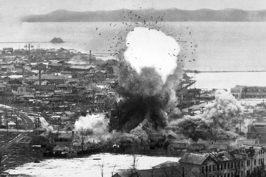A US B-26 bomber drops a bomb on the North Korean city of Wonsan in 1951