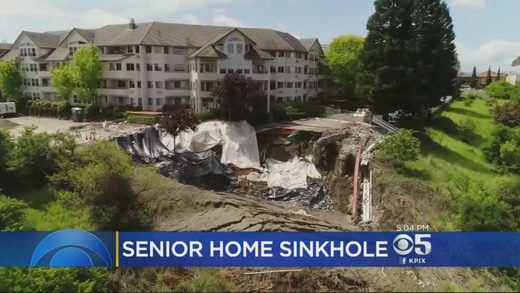 Massive sinkhole opens up behind retirement home in Pinole, California