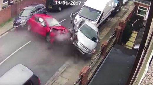 Car ploughs into 4 vehicles