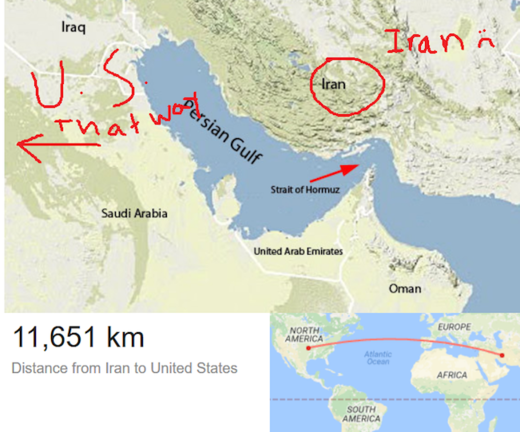 MAp Distance Iran to US