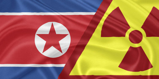 North Korea flag and nuclear flag