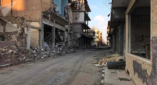 Homs building destroyed