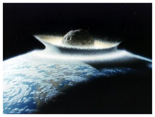 Asteroid impacting Earth