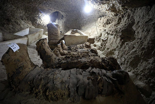 mummy inside the newly discovered burial site in Minya