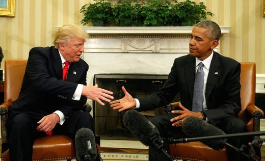 Obama and Trump shaking hands