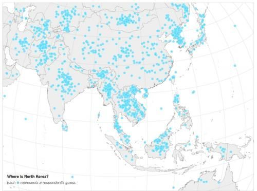 1,746 American adults were asked to point out North Korea on a map ...