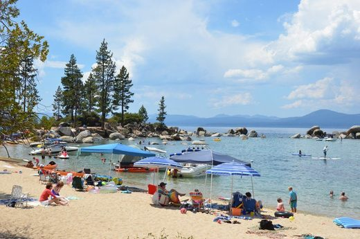 Record snow and rainfall swallows Lake Tahoe's beaches