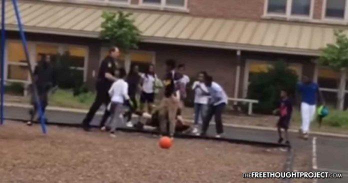 Sick cops beat kids on elementary school playground ...