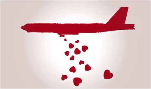 Red plane dropping hearts cartoon