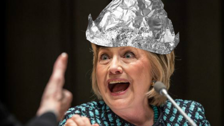Image result for image of hillary clinton in tinfoil hat