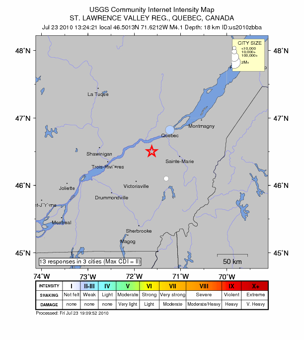 Canada: Earthquake Magnitude 4.1 - St. Lawrence Valley Region - Quebec