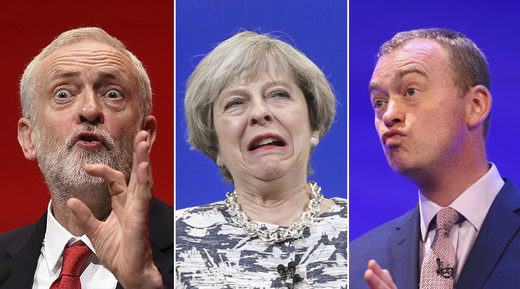 Jeremy Corbyn, Theresa May, Tim Farron
