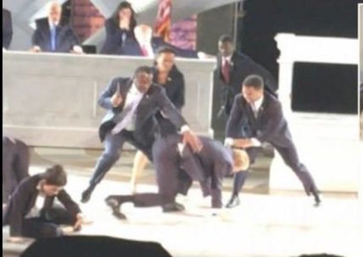 """Goebbels would be proud!"": Protesters interrupt Trump assassination play in NYC"
