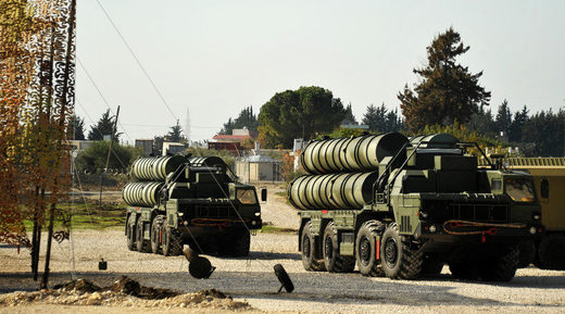 An S-400 air defence missile system at the Hmeymim airbase, Syria
