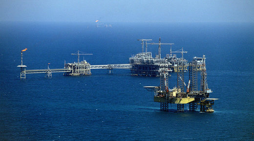 General View of the Saudi offshore oil rig 'Marjan 2'