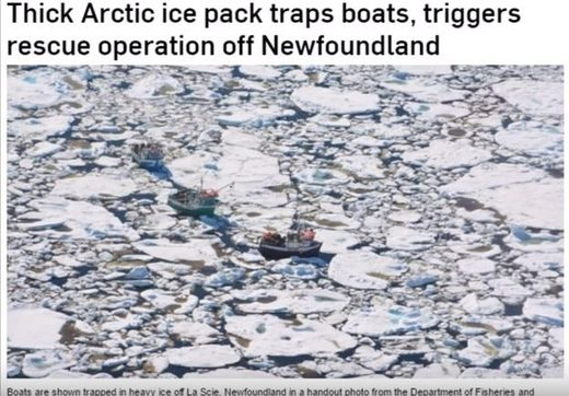 Unusually thick Arctic sea ice pack traps vessels and prevents 'global warming' expedition