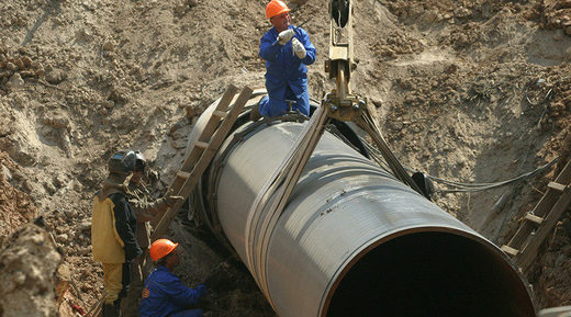 Natural gas pipeline being laid