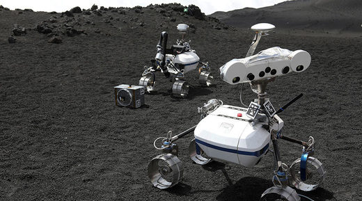 Robots are seen on the Mount Etna