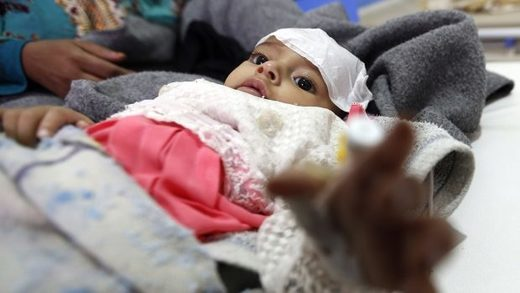 Yemini infant suspected of cholera infection