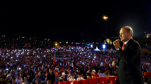 Turkish President Tayyip Erdogan speaking at istanbul rally