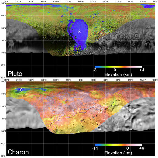 maps of Pluto and Charon
