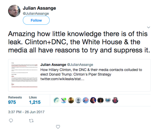 assange tweet DNC leak