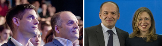 Weihe with Pinchuk; right: Pinchuk with Chelsea Clinton