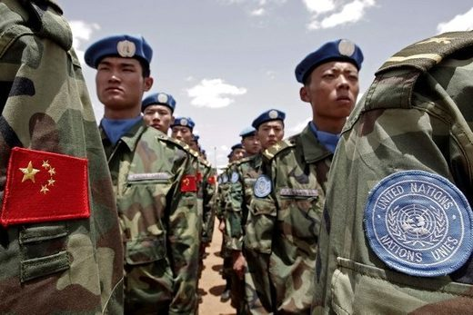 Chinese and UN soldiers