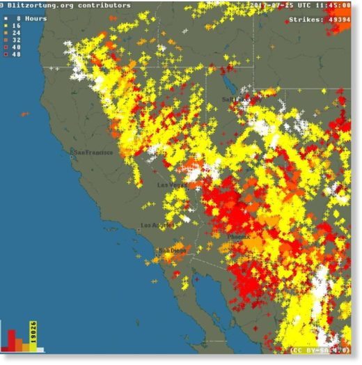 A lightning map from Blitzortung shows lightning strikes around the west from Sunday afternoon through Tuesday afternoon.