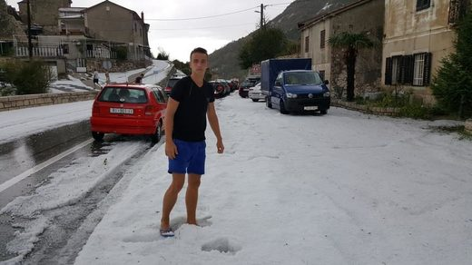 Summer hail in Plomin, Croatia