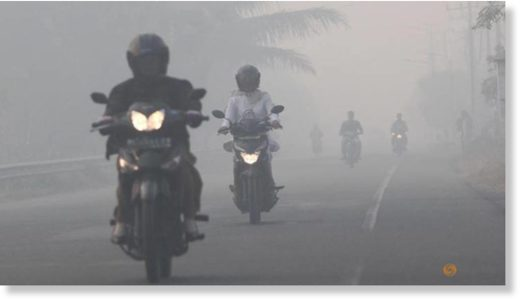 Resident drives motorcycle through haze as peatland fires at Suak Raya village in Aceh Barat, Indonesia Aceh province, Jul 24, 2017