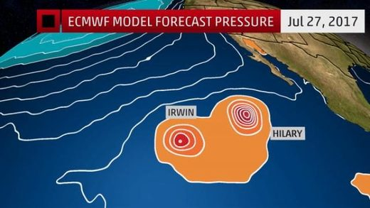 Fujiwhara effect of tropical cyclones Irwin and Hilary