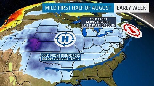 US August 2017 weather forecast