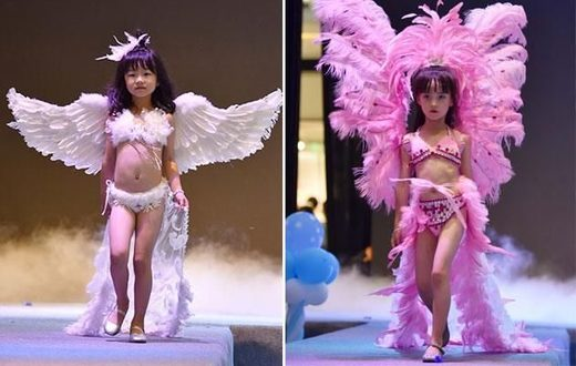 Little girls model lingerie in 'Victoria's Secret'-style show