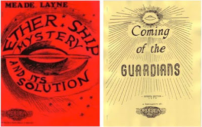 Meade Layne's two UFO volumes, The Ether Ship Mystery and Its Solution 1950), and Coming of the Guardians (1954)