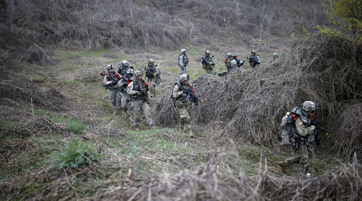 U.S. army soldiers take part in U.S.-South Korea joint river-crossing exercise near demilitarized zone separating two Koreas in Yeoncheon
