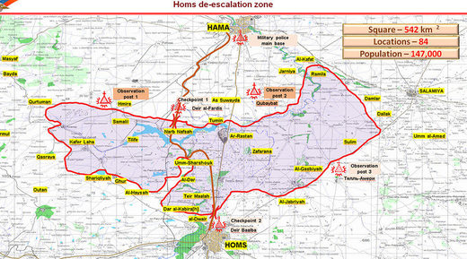 map of Homs de-escalation zones