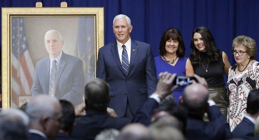 Mike Pence poses for a photo with his family