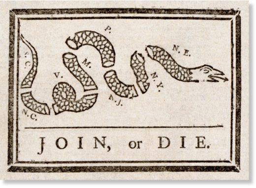 Benjamin Franklin's Famous Cartoon on the need to unite the 13 original American colonies