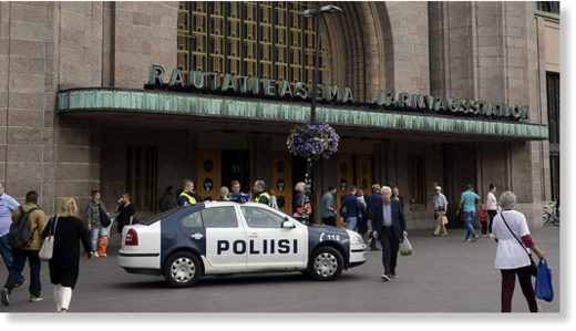 Finnish police patrol in front of the Central Railway Station, after stabbings in Turku, in Helsinki, Finland August 18, 2017