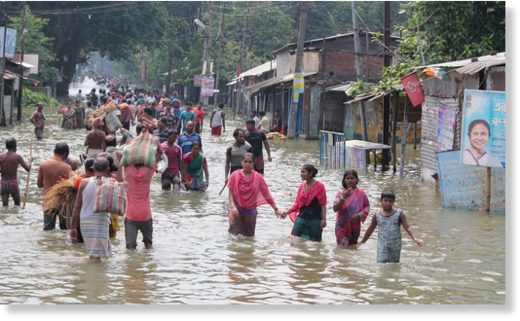Flood waters in Balurghat, in West Bengal, eastern India