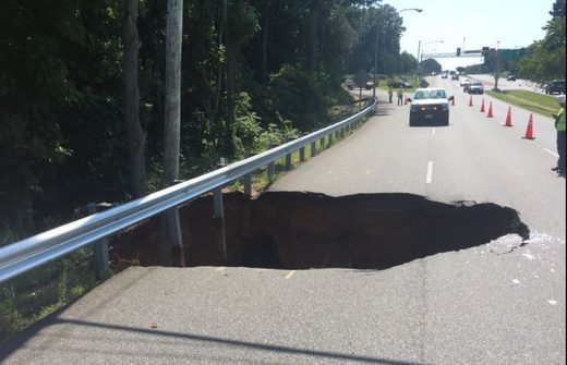 Large sinkhole closes road in Lynchburg, Virginia
