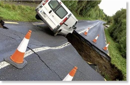 The driver of a van in Inishowen had a lucky escape when floods opened a huge hole in the road.