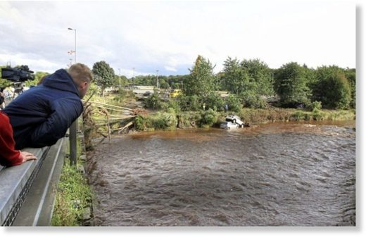 The River Faughan at Drumahoe on the outskirts of Derry following severe rain and storms.
