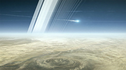 Artist visualization of Cassini plunge to Saturn