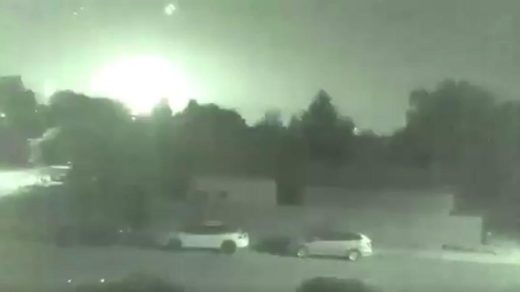 Meteor fireball explodes over Nelson, British Columbia, Canada.